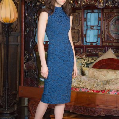 Alice + Olivia Pre-Fall 2015 Blue Sheath Dress