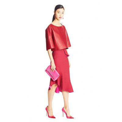Oscar de la Renta Pre-Fall 2015 Red Leather Top